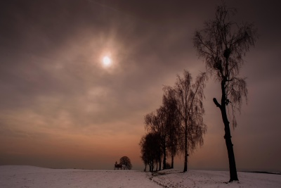dawn, sunset, sun, winter, fog, sky, sunrise, landscape, silhouette