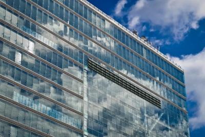 arsitektur, langit, modern, kota, jendela, refleksi, pusat kota
