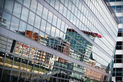 architecture, ville, moderne, réflexion urbaine, fenêtre,