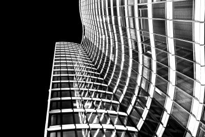 architecture, bâtiment moderne, monochrome, réflexion, ville