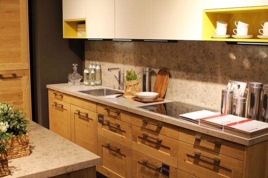 kitchen, kitchen table, room, furniture, indoors, cabinet, faucet, shelf, cupboard