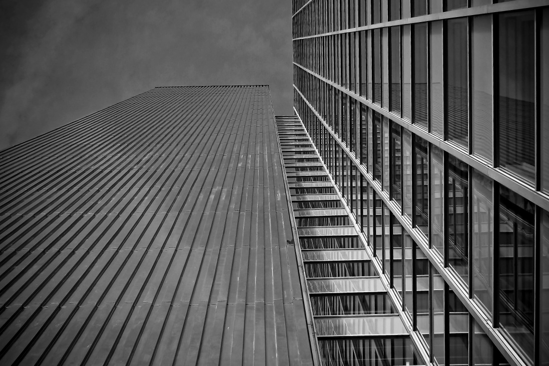 monochrome, architecture, steel, building, exterior, modern, sky