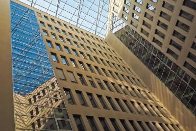 fenêtre, architecture, moderne, centre-ville, ville, urbaine, réflexion, haute