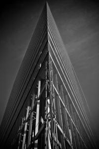 monocromo, arquitectura, puente, estructura, moderna, acero, arte, calle, centro