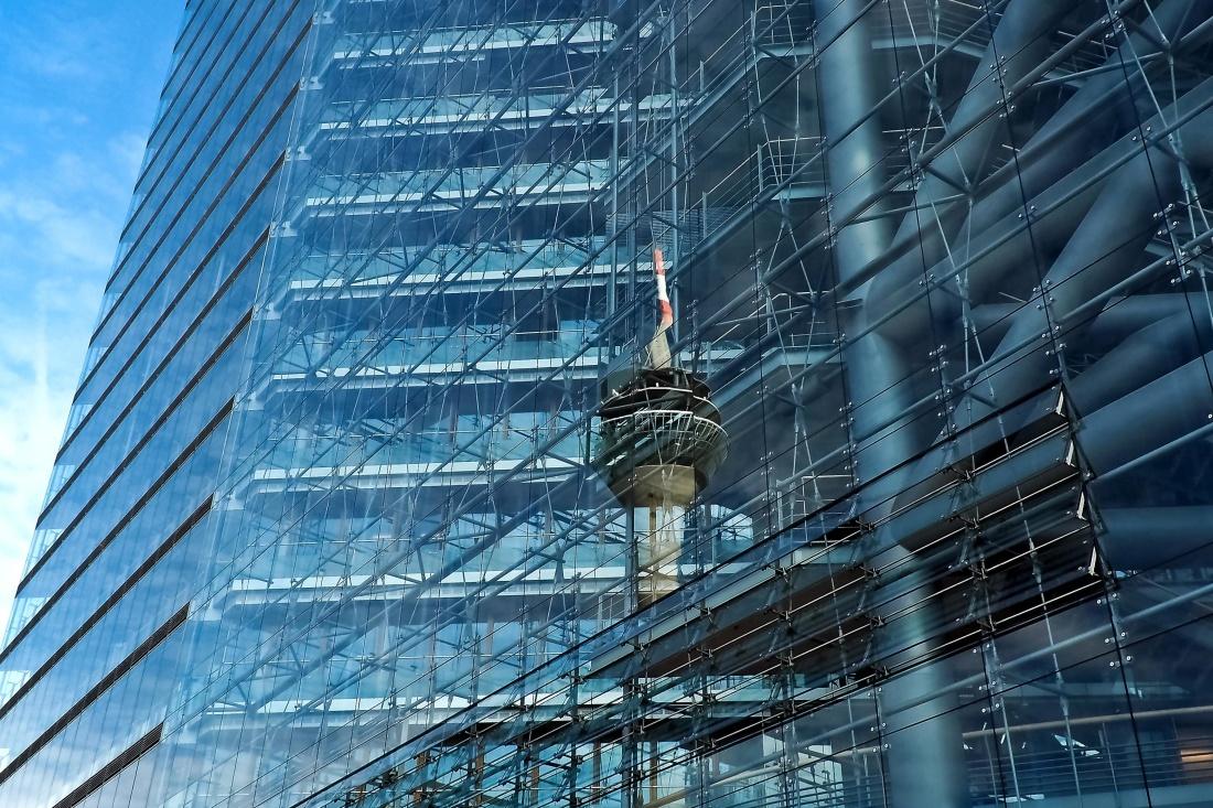 extérieur, verre, bâtiment, architecture, ville, centre ville, urbain, moderne, futuriste, ciel