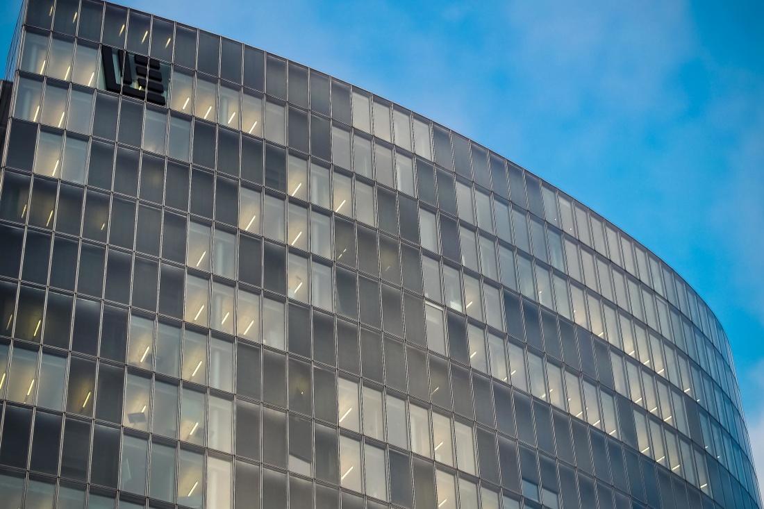 arquitectura, ventana, futurista, moderno, reflexión, cielo, centro de