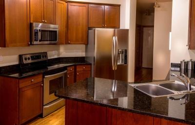 štednjak, slavine, pećnica, suvremene, u kući, sobi, hladnjak