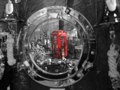 monochrome, telephone, street, glass