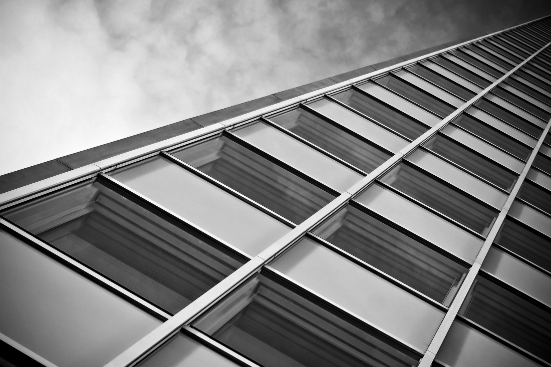 window, monochrome, architecture, reflection, perspective, modern