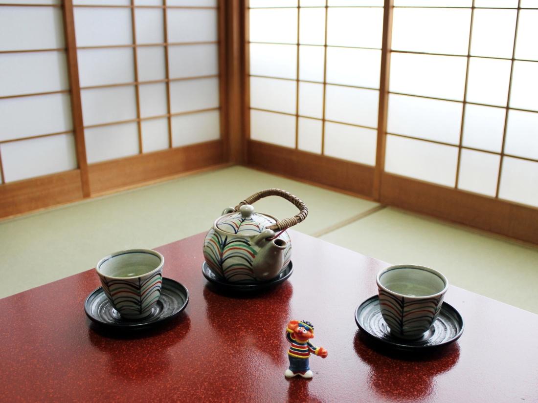tea, table, cup, room, teapot, wood