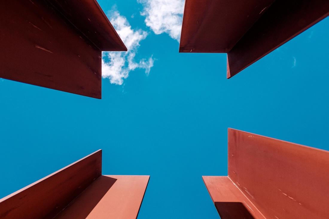 steel, iron, object, blue sky, metal, modern, urban