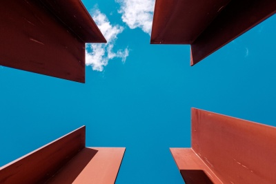 steel, iron, object, blue sky, metal, modern, urban