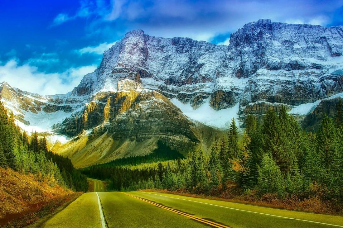 road, asphalt, sky, snow, valley, landscape, mountain, nature, sky