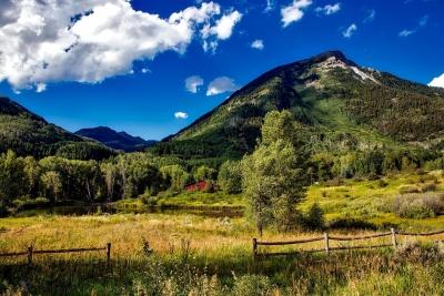 montagna, paesaggio, natura, cielo, estate, paesaggio, rurale