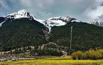 mountain, landscape, snow, hill, mountain peak, sky, grass
