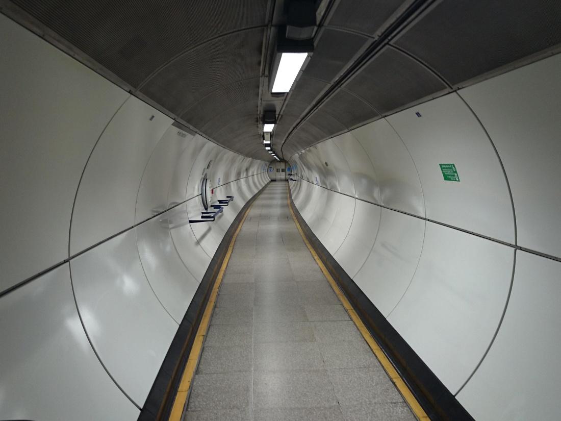 acciaio moderno, interni, grigio, luce, tunnel