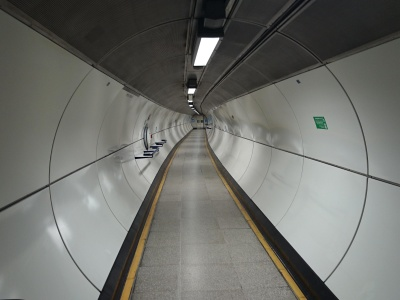 interior, modern, steel, light, gray, tunnel