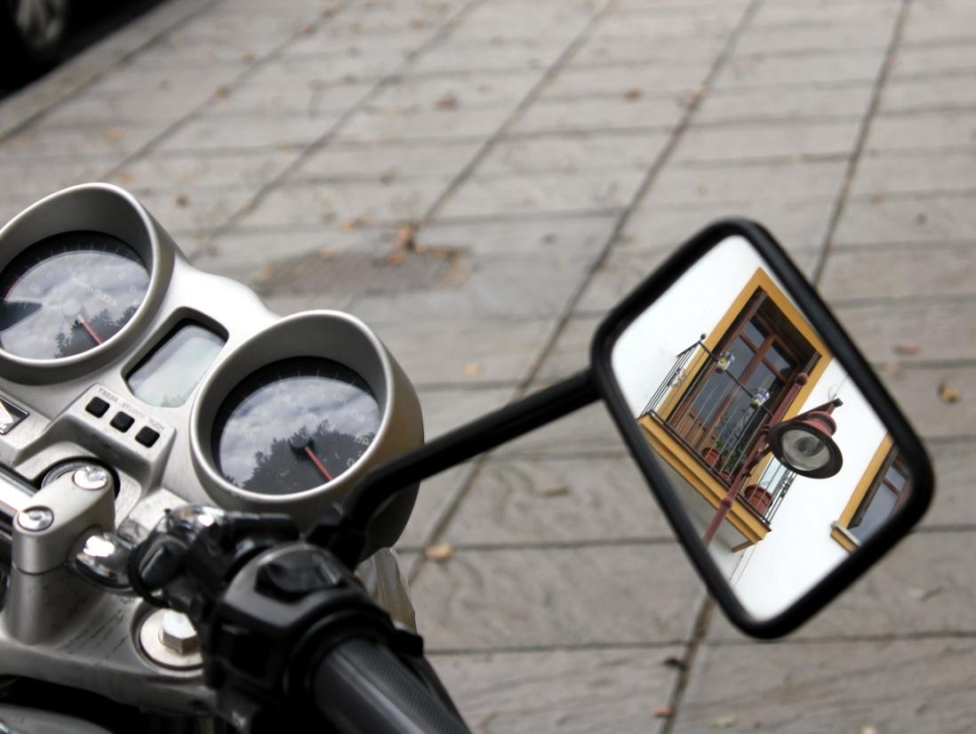 Motorrad, Spiegel, Technik, Technologie, Lenkrad, Metall