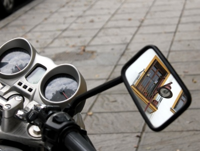 motorcycle, mirror, technology, steering wheel, metal, technology