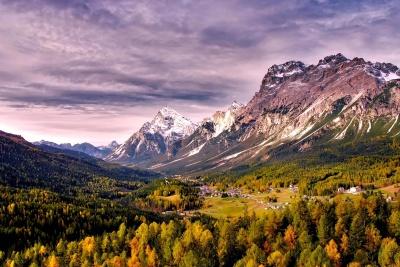 bjerg, landskab, natur, træ, hill, sommer, valley
