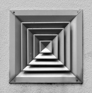 square, wall, exterior, metallic, metal, monochrome, object