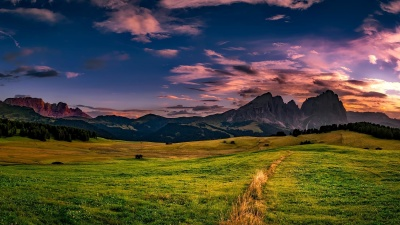 landscape, nature, sunset, mountain, sky, hill, dusk, sunset