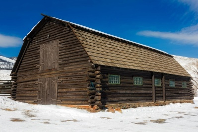 legno, neve, inverno, casa, fienile, bungalow, in legno, cabina, tugurio