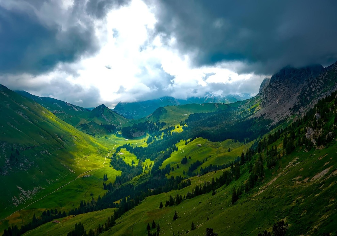 mountain, nature, landscape, sky, hill, grass, forest, trees, sky, valley