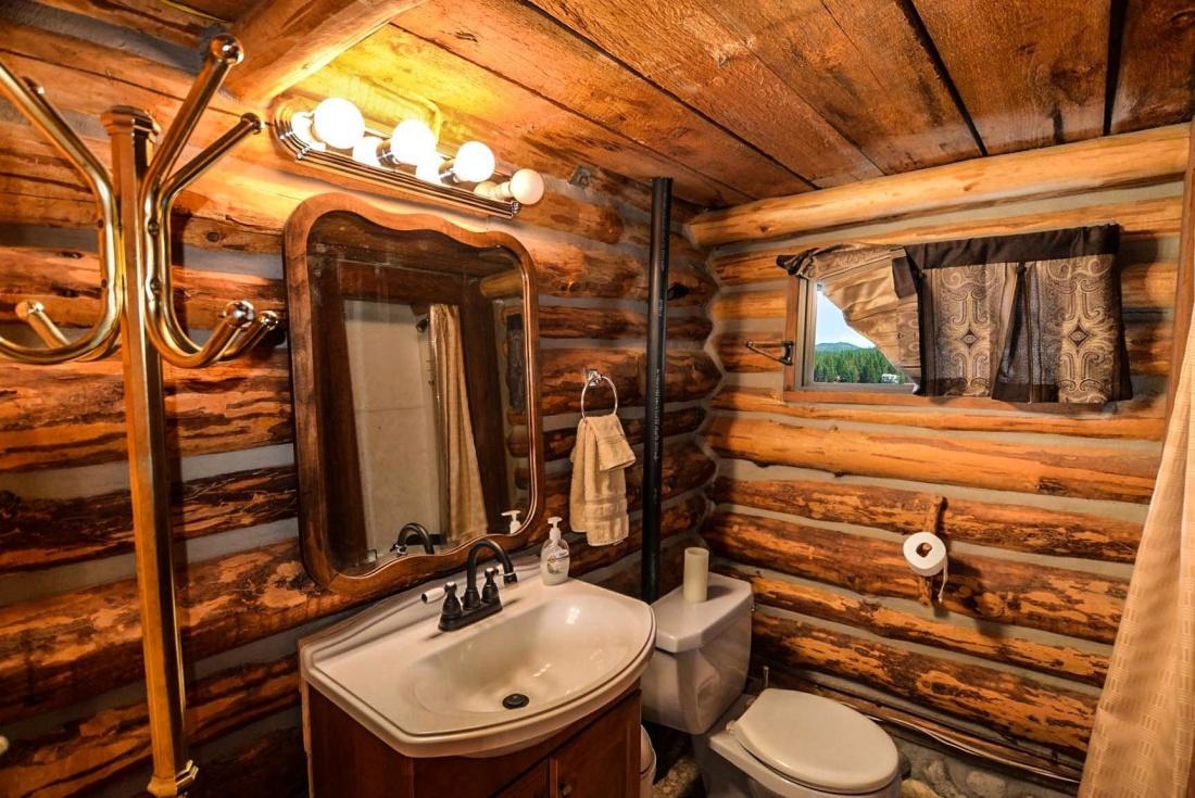 luxe, maison, cabine, Président, fenêtre, salle de bains, baignoire, maison, meubles, à l'intérieur, bois