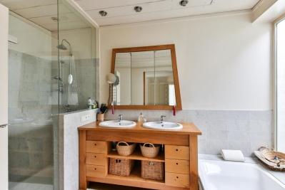 dentro de casa, móveis, quarto, contemporâneo, casa, espelho, casa, janela, casa de banho