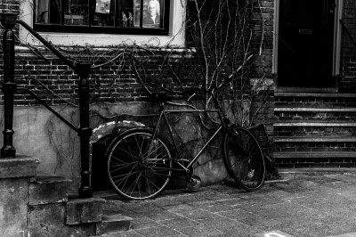 bicycle, exterior, abandoned, street, monochrome, old, decay