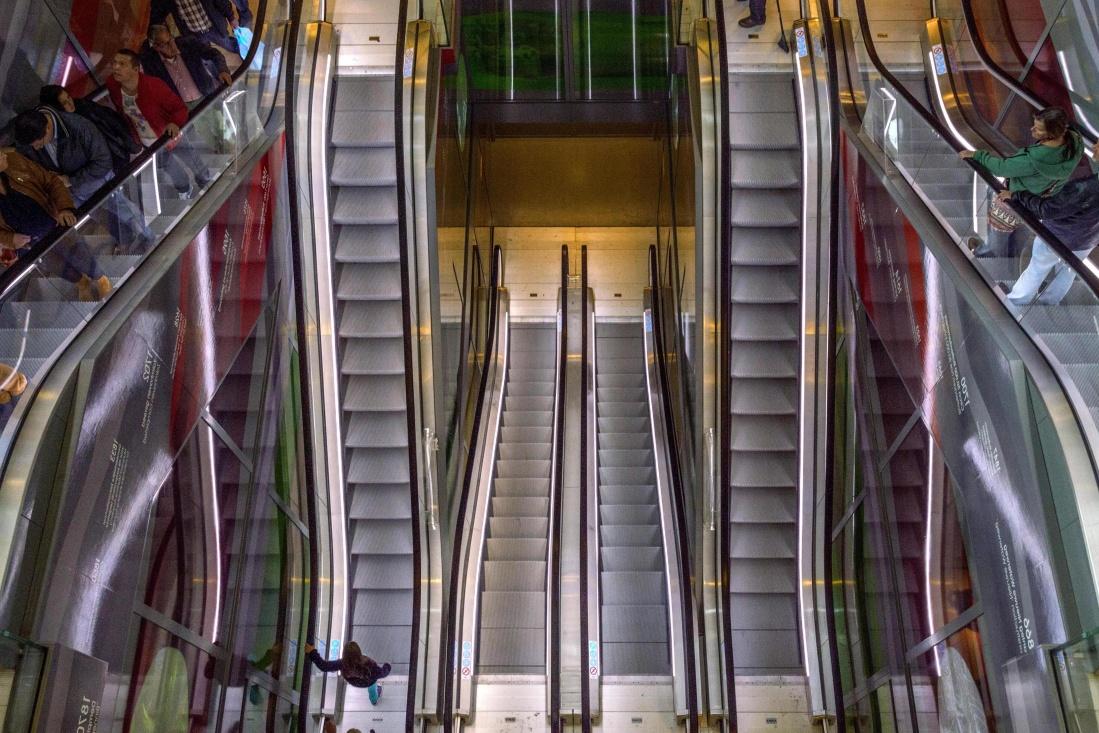 steel, industry, interior, technology, escalator, indoors, modern, architecture