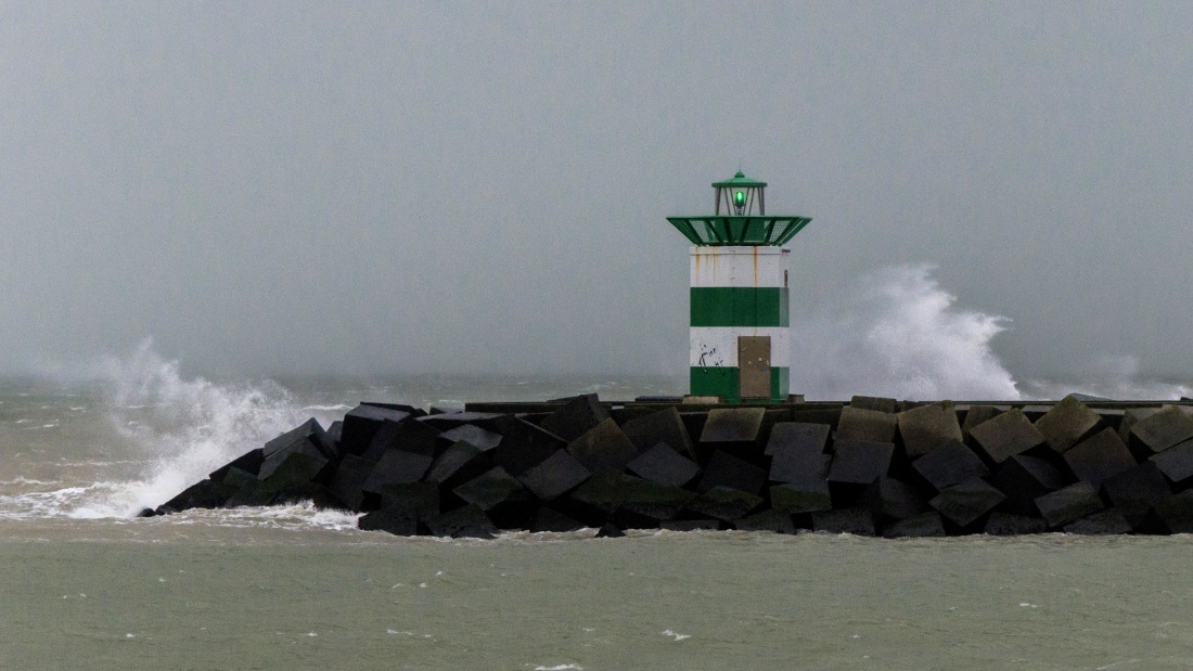 storm, water, lighthouse, sea, fog, seashore, landscape, ocean