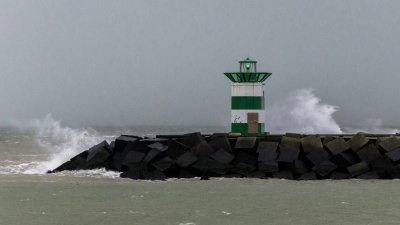 storm, water, lighthouse, sea, fog, seashore, landscape, ocean