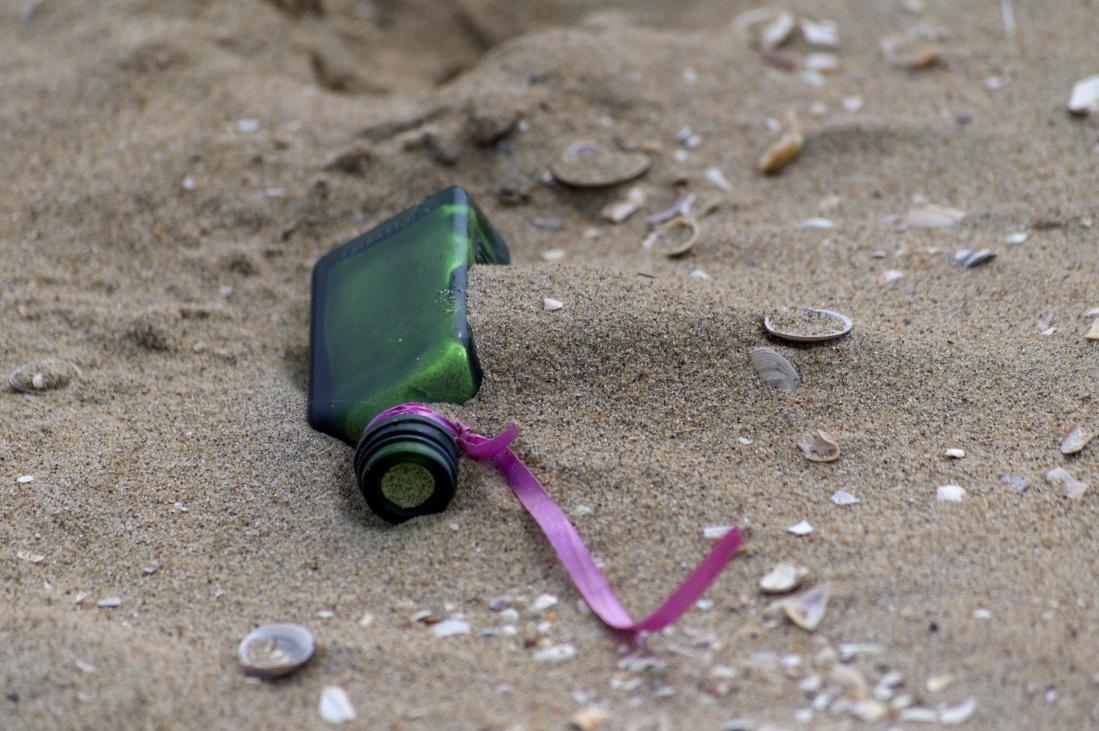 sand, beach, nature, seashore, summer, bottle, glass