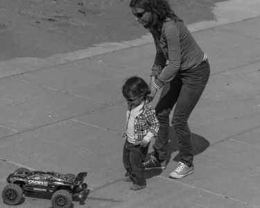 Kind, Menschen, Strasse, junge, Monochrom, Mutter, Sohn