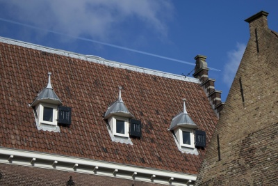 azotea, casa, arquitectura, azulejo, viejo, ladrillo, pared, construcción, cielo, urbano