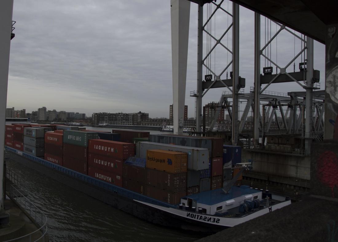 water, bridge, vehicle, ship, dock, cargo