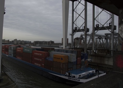 water, bridge, vehicle, ship, dock, cargo