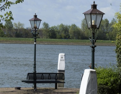 street lamp, park, bench, lantern, water