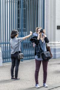 donna, ragazza, giovane, fotografo, persone, moda, urbano, città, ritratto, street