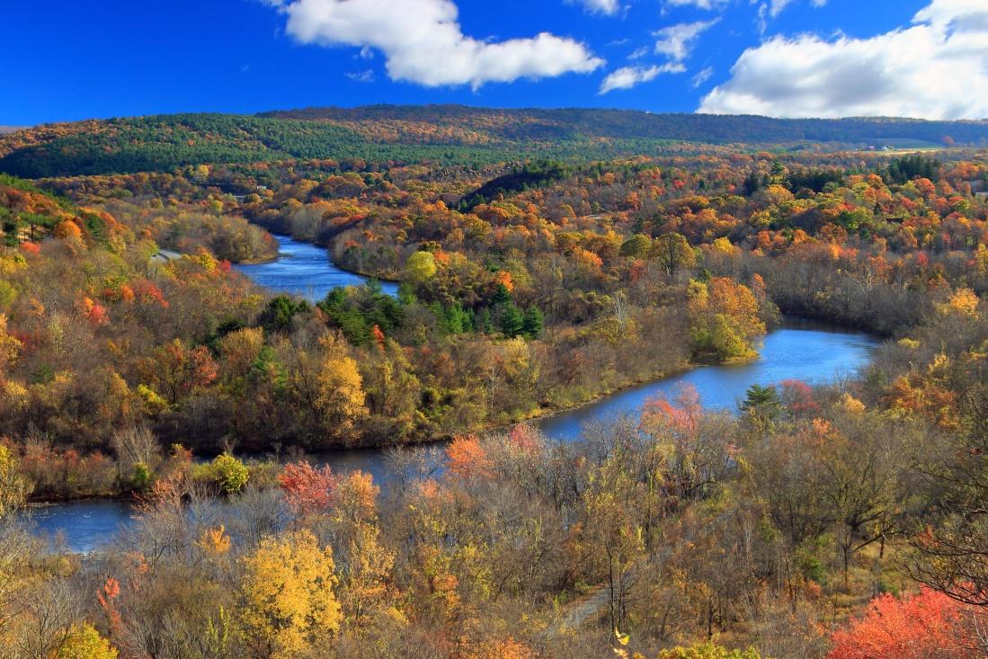 водата, пейзаж, природа, река, есен, долина, планина