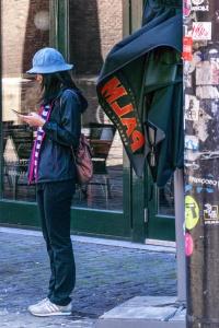 улица, жена, градски, мода, човек, град