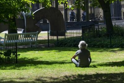 giardino, erba, erba, persone, estate, persona, outdoor, prato