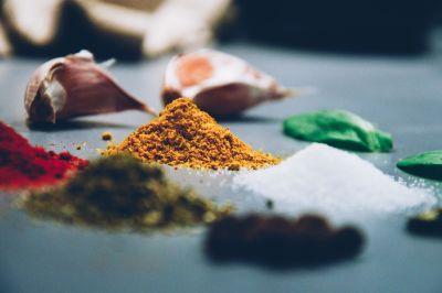 hvitløk, makro, ingefær, pulver, krydder, fargerike, salt, pepper