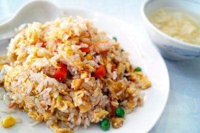 arroz, comida, cena, comida, plato, comida, vegetales, carne, delicioso