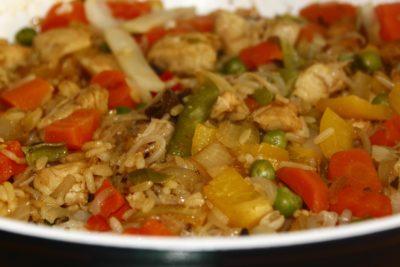 вечеря, обяд, храни, ориз, брашно, ястие, вкусни, пиле, зеленчук