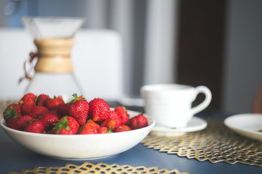 strawberry, breakfast, food, fruit, cup, beverage, coffee, drink