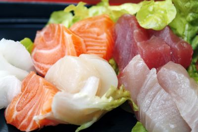 dinner, food, seafood, salmon, meat, slice, fish, meal, vegetable, salad
