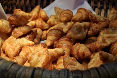cibo, delizioso, croissant, pane, colazione